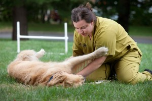 One of our caring team members has some quiet outdoor time with a boarding patient